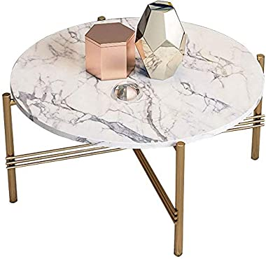 Living Room Tables Simplistic Round End Table Coffee Table Cross Metal Golden Frame & Marble Desktop Modern Home Decor for Ho