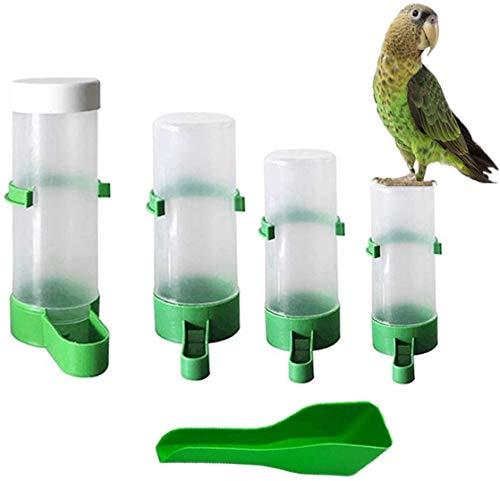 Vogel-Wasserspender für Käfig, Automatischer Vogelfutterspender Set, Futternapf, Flasche, Trinkbehälter, Vogelfutterspender für Papageien, Sittiche, Wellensittiche, Nymphensittiche, Finken