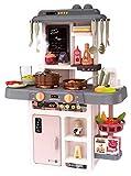 Kinderplay Cocina Juguete, Cocinitas de Juguetes, Cocina Infantil para Niños - Luces, Sonidos y Agua, Simulación de Vapor, 42 Accesorios incluidos, KP3303