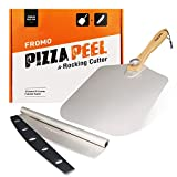 FROMO Premium 12 x 14 Inch Aluminum Paddle Metal Pizza Peel Shovel with Foldable Wood Handle, 14' Cutter Rocker Blade. Gift Set for Homemade Baking Lovers like Pizza, Bread and Pastries