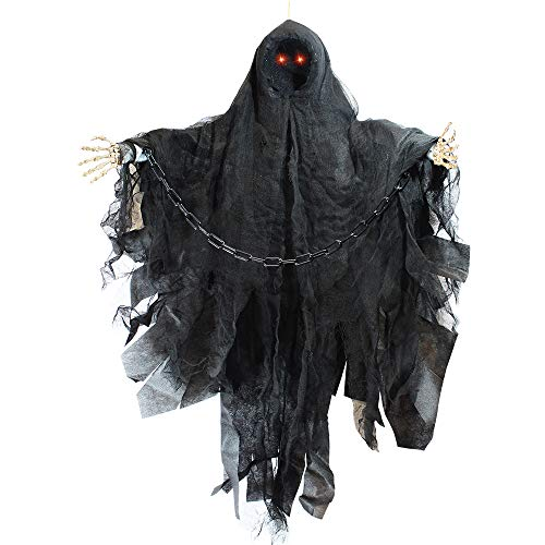 JOYIN 36″ Animated Hanging Grim Reaper, Faceless Ghost in Black Horror Robe for Best Halloween Hanging Decorations