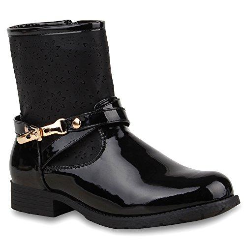 Damen Stiefeletten Lack Biker Boots Cut-Outs Stiefel Schuhe 66221 Schwarz 37 Flandell