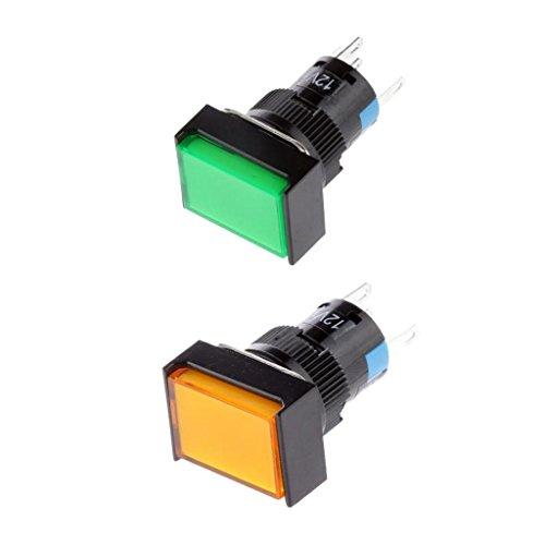 SDENSHI 2x DC 12V 5 Pines Botón Pulsador Momentáneo Auto Reset Interruptor Cuadrado Luz LED