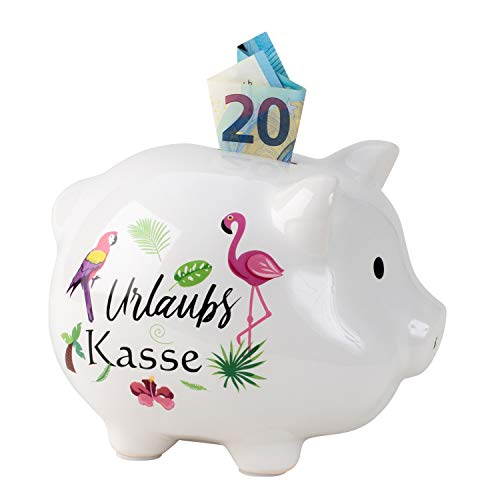 Lifestyle & More Sparschwein Spardose lustiges Schwein Urlaubskasse aus Keramik weiß 18x14 cm