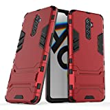 MaiJin Case for Oppo Reno Ace (6.5 inch) 2 in 1 Shockproof with Kickstand Feature Hybrid Dual Layer Armor Defender Protective Cover (Red)