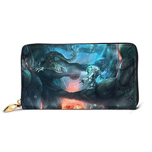 XCNGG Leder Clutch Spiel Subnautica Wallet Zipper Frauen Mode Wristlet Geldbörsen Tasche Telefon Kredit Multi Card Holder Organizer Wallets