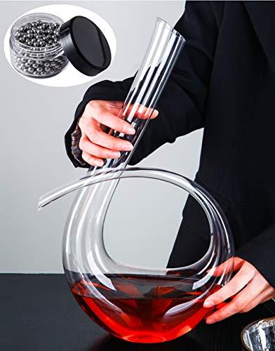 WYK - Decantador de vino tinto + cuentas de limpieza, 1240 ml, soplado a mano, estilo italiano, sin plomo, cristal transparente de alta calidad para bodas, aniversarios, Navidad