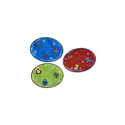 H&H Pengo 113 Centrotavola Natale, Ovale Multicolore 30, Ceramica, 31x23x3 cm