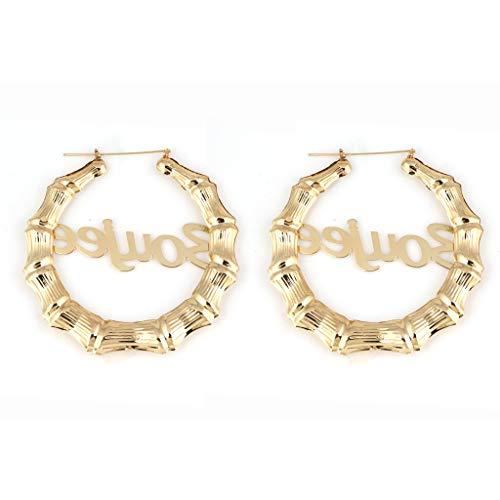 YOYOHO Gold Tone Casting Round Bamboo Hoop Earrings - Gold