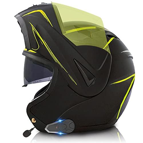 Casco de motocicleta abatible con Bluetooth integrado, con visores duales antirreflejos, casco modular de motocross de choque integral para hombres y mujeres adultos, casco aprobado por DOT C3,XS