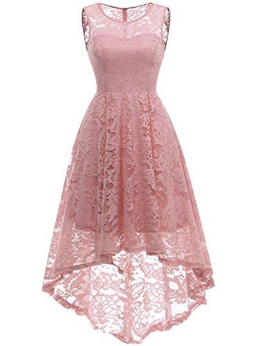 MuaDress 6006 Elegante Abendkleider Cocktailkleider Damenkleider Brautjungfernkleider aus Spitzen Knielange Rockabilly Ballkleid Rund Ausschnitt Blush XS