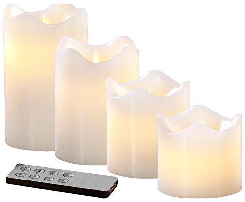 Britesta LED Wachskerzen: 4 Echtwachskerzen mit beweglicher LED-Flamme, Abgestuft, weiß (LED Kerze mit Fernbedienung)