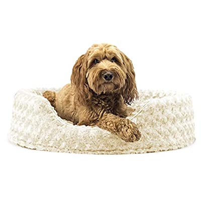 Furhaven Pet Dog Bed | Round Oval Cuddler Ultra Plush Faux Fur Nest Lounger Pet Bed for Dogs & Cats, Cream, Large