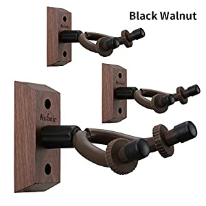3 Pack Guitar Wall Mount, Neboic Wood Guitar Wall Hanger, Black Walnut Guitar Hook, Guitar Accessories for Acoustic Electric Bass Ukulele Guitar