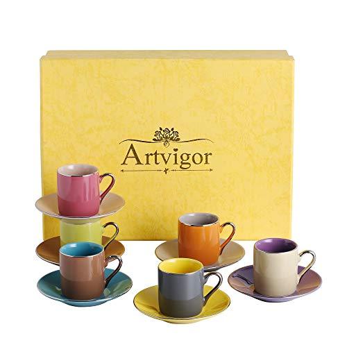 Artvigor Servizio da caffè tè Set di 12 Tazze e Piattini in Porcellana Ceramica Tazzine da caffè Cappuccino 80ml per 6 Persone Colore Marrone Viola Blu Giallo Rosa Arancione