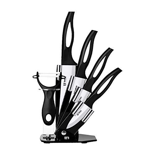 CareMont Juego de Cuchillos de Cocina de 6 Piezas con Bloque, Juego de Cuchillos de CeráMica de Cocina con Manejar Hueco Cuchillos de Cocina Herramientas de Cocina (Negro)