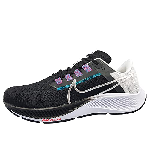 Nike Herren AIR Zoom Pegasus 38 Laufschuh, Black MTLC Silver White Chlorine Blue Anthracite Flash Crimson, 44.5 EU