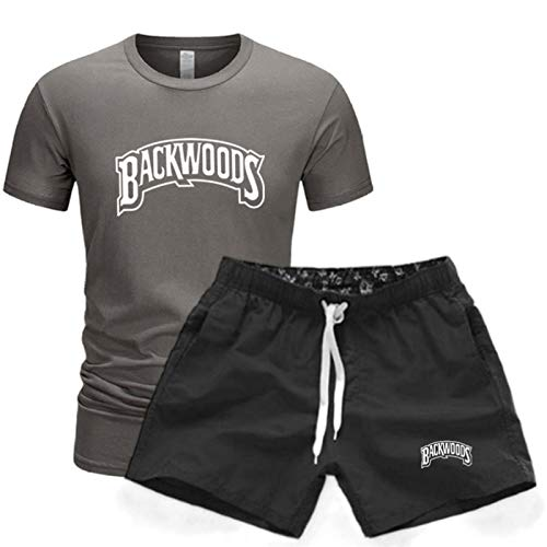 GIRLXV Camiseta De Manga Corta De Verano para Hombre Camiseta Informal De 2 Piezas Backwoods Traje Deportivo Pantalones Cortos Traje De Hombre Estampado M