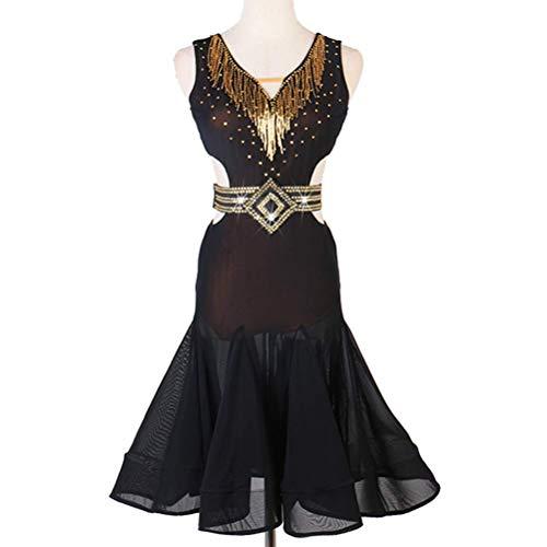 XIUWOUG Frauen Latein Tanzwettbewerb Kleid Damen Salsa Ballsaal Tango Cha Cha Performance Kostüm Nackter Rücken V-Ausschnitt Mode ?rmellos