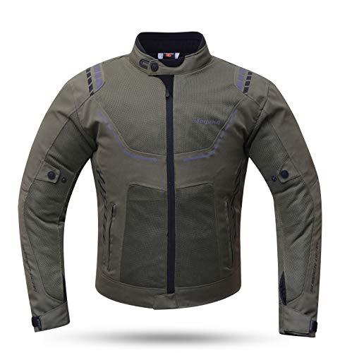 Degend Breeze Man – Abbigliamento da moto | Giacca da moto da uomo, impermeabile e traspirante, taglie S-6XL verde oliva 6XL