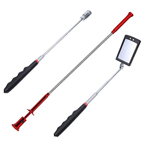 UTSAUTO Pick-Up Tool Set 3 Pcs Magnetic Pick-Up Grabber Tool with LED Light includes Telescoping Inspection Mirror Flexible Claw Grabber and Extendable Magnet Pick-up Tool