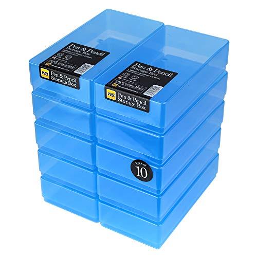 WestonBoxes - Plastic Pen en potlood opbergdoos voor kleine verfborstels en gereedschappen (Blauw, 10 Stuks)