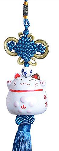 Maneki-neko Pendant - Eleganter Anhänger mit süsser Glückskatze aus Porzellan (Blau)