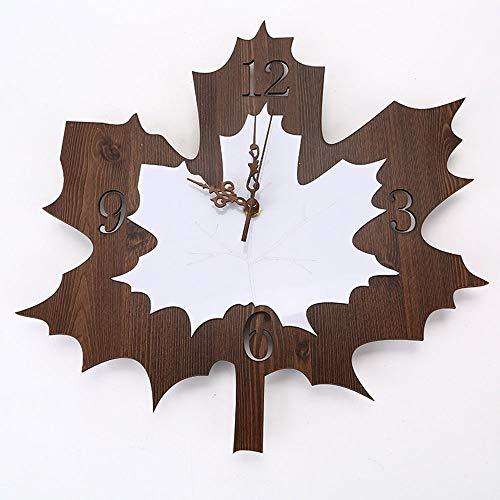 YesVCTR Reloj creativo en forma de hoja, de madera, reloj de pared, reloj de cuarzo, retro, para sala de estar, dormitorio, simple (37 x 38 cm)