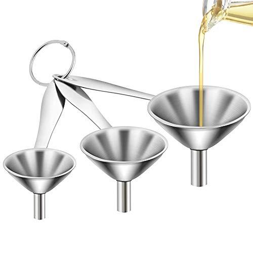 NETUME Trichter Edelstahl, 3 Stück Küchen Trichter Set, Klein Edelstahltrichter Mit Langem Griff, Mini Trichter Set Zum Übertragen Von Flüssigem Ölpulver, 4.5/5.5/7.5cm