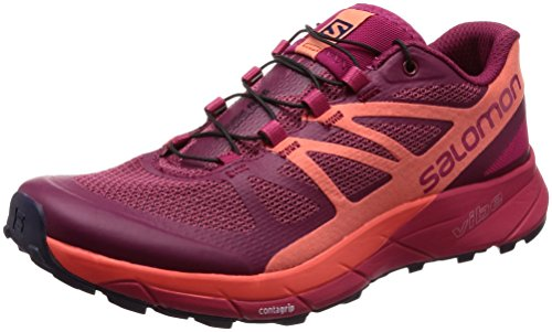 SALOMON Damen Sense Ride W Traillaufschuhe, Rot (Sangria/Living Coral/Virtual Pink 000), 45 1/3 EU