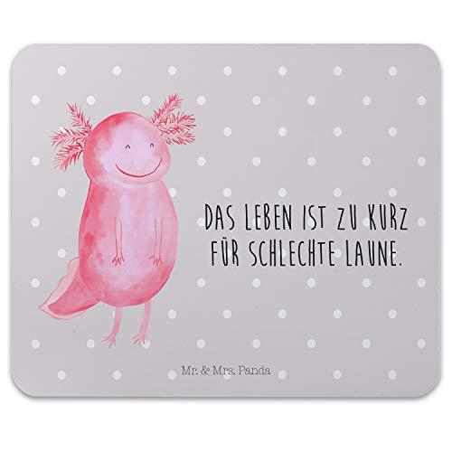 Mr. & Mrs. Panda Büro, Mousepad, Mauspad Axolotl glücklich mit Spruch - Farbe Grau Pastell