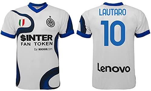 Maglia Lautaro Inter 2022 Away Ufficiale 2021-2022 Adulto Ragazzo Bambino Martinez Trasferta Bianca (10 Anni)