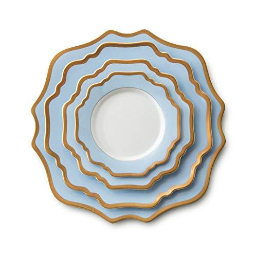 Placa de decoración de Mesa China de Hueso del vajilla Light Blue Gold Sun Flower Plato Set Hotel Restaurante Steak hogar Placa Placa de cerámica Placa de Filete Occidental