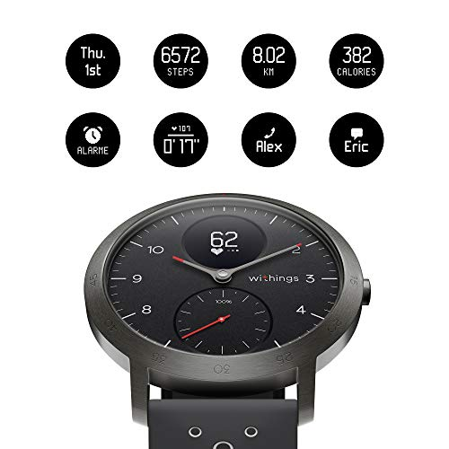 Withings Steel HR Sport – Multi-Sport Hybrid Smartwatch – Herzfrequenz- und Fitnesstracker, schwarz, 40mm - 3