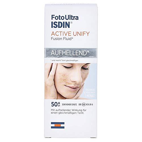 ISDIN FotoUltra Active Unify LSF 50+, Hellt auf und vereinheitlicht den Hautton, Sonnencreme mit dreifach aufhellender Wirkung, 50 ml