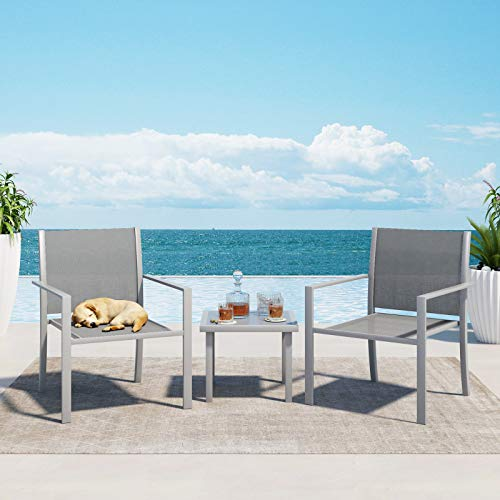 Supernova Patio Balcony Furniture Set 3 Piece with Fabric Outdoor Chairs and Glass Coffee Table,Outdoor Patio Conversation Furniture Set,Outdoor Bistro Set for Front Porch Backyard Garden (Dark Grey)