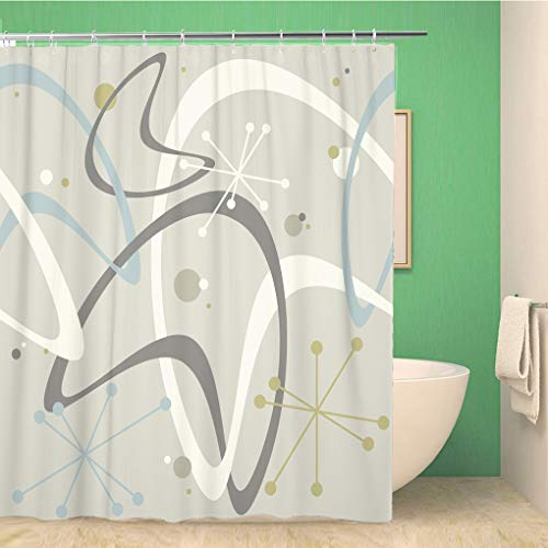 Topyee Shower Curtain Beige Mid Century Modern 1950S Vintage Retro Atomic Pattern 60x72 Inches Waterproof Polyester Bathroom Decor Curtain Set with Hooks