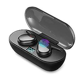♫【BLUETOOTH 5.0+EDR AMÉLIORÉ & APPARIEMENT FACILE】 Connexion automatique des deux oreillettes en les allumant et seulement une étape supplémentaire pour les connecter au téléphone. La dernière technologie Bluetooth 5.0 mise à niveau est plus RAPIDE,o...