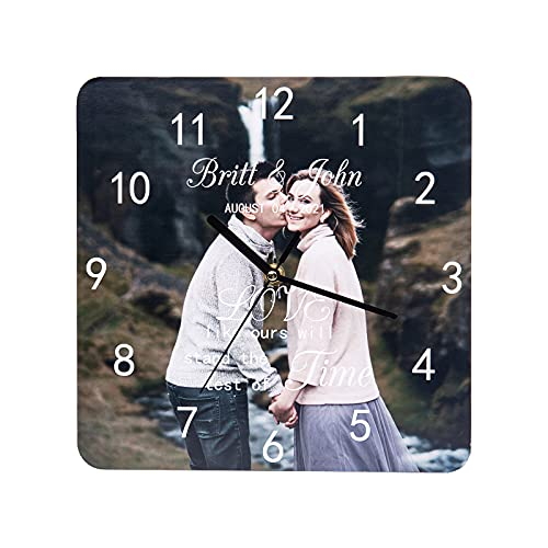 Relojes de Pared Personalizados Foto Reloj de Pared Nombre Personalizado Reloj de Pared Decorativo Hogar para Padre Madre Pareja Familia Dia del Padre Cumpleaños Aniversario Regalo (Foto+Name)