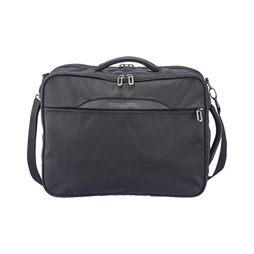 travelite Kombi Tasche / Rucksack mit Laptopfach + Aufsteckfunktion, Gepäck Serie CROSSLITE: Robuste Weichgepäck Reisetasche im Business Look, 089505-01, 42 cm, 23 Liter, schwarz