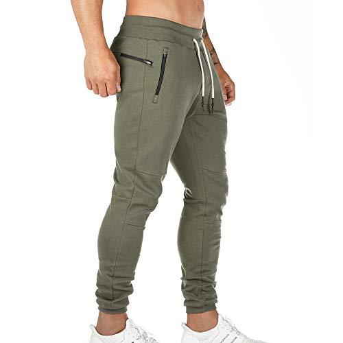 Pantalon de Jogging Homme Pantalon Sport en Coton Taille Elastique Pantalons de Survêtement Poche Disponible Jogger Survêtement Training Pants Pantalon Cargo Casual Activewear Sweatpants (Vert, L)