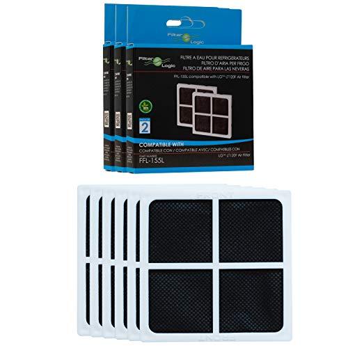 Filterlogic FFL-155L | Antibakterieller Luftfilter für LG Kühlschrank, kompatibel mit LG Pure N Fresh Air ADQ73214404, LT120F, D719803 Kühlschrankfilter (6er Pack)