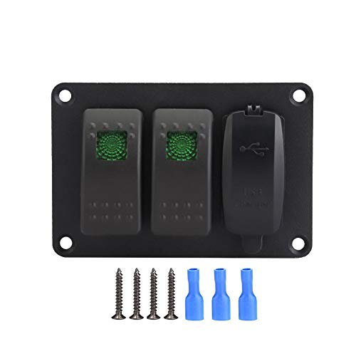 Interruptor de palanca de encendido/apagado Panel de interruptor basculante para piezas de barco (azul)