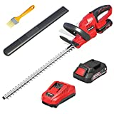 Meterk Cordless Hedge Trimmer, 20V Bush Trimmer 20-Inch Dual-Action Blades 5.5-lb Lightweight & Powerful Battery and Fast Charger Included Electric Pole Hedge Trimmer for Hedges/Bushes/Yard