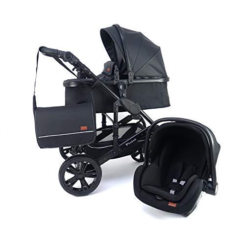 Pixini 3 in 1 Kinderwagen (California Kombikinderwagen Megaset inkl. Babywanne & Buggy & Auto-Babyschale - Alu-Rahmen - Wickeltasche/Regenschutz/Getränkehalter in schwarz Kunstleder)