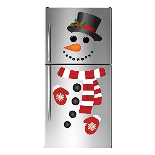 Joy Bang Christmas Refrigerator Stickers Christmas Snowman Refrigerator Decorations Snowman Stickers for Christmas Xmas Window Wall Door Decor
