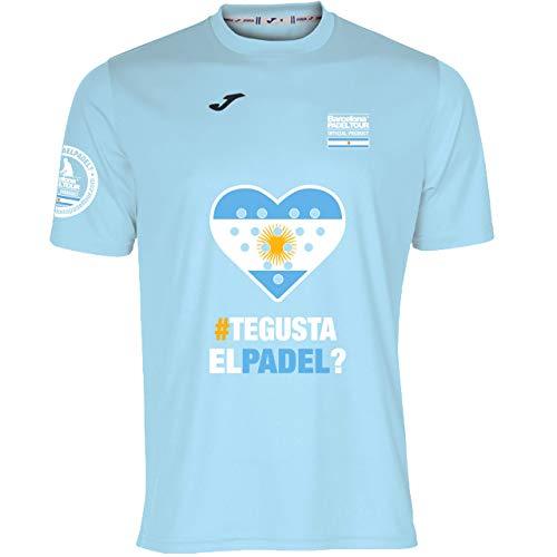 Barcelona Padel Tour | Camiseta Técnica de Manga Corta para Hombre Joma | En Tejido Micro Mesh Transpirable con Corazón Love Pádel y Bandera Argentina Azul Celeste XL