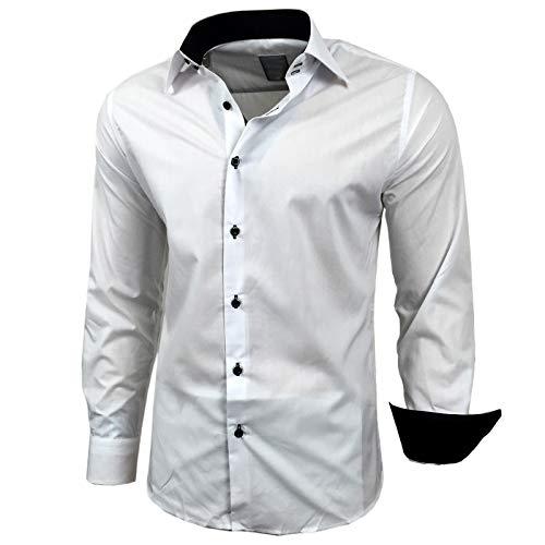 Baxboy Herren-Hemd Slim-Fit Bügelleicht Für Anzug, Business, Hochzeit, Freizeit - Langarm Hemden für Männer Langarmhemd R-44, Größe:L, Farbe:Weiss/Schwarz