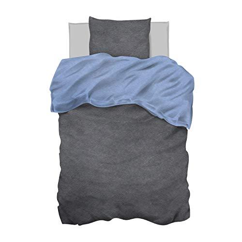 Aminata Kids Bettwäsche 135 x 200 grau blau Baumwolle einfarbig Uni-Farben-Motiv Reißverschluss, Wende-Bettwäsche-Set, einfarbige für Männer Frauen Jugendliche - Komfort-Größe Silber Grey