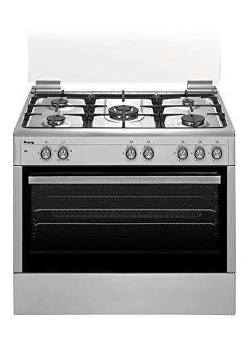 Cocina semiprofesional 90 cm de ancho con maxihorno PROXY, color acero inox, 5 fuegos (incluye 1 Triple Fuego) y horno eléctrico 4 funciones.